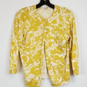 Halogen yellow floral print button down cardigan